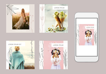 Social Media Post Layouts with Illustrative Leaf Graphics