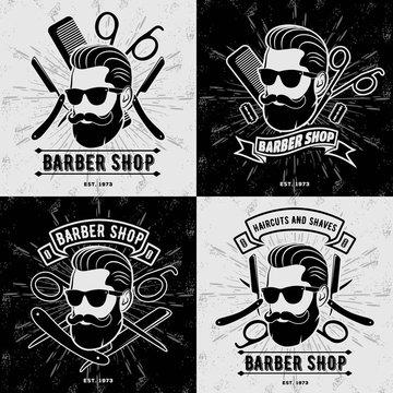 Set of vintage Barber Shop logos, labels, emblems or badges. Vector illustration