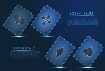 The concept of poker, casino and gambling. Four aces cards, poker casino illustration.