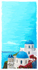 Greece summer island landscape with traditional greek church. Santorini hand drawn vector vertical background. Picturesque sketch. Ideal for cards, invitations, banners, posters.
