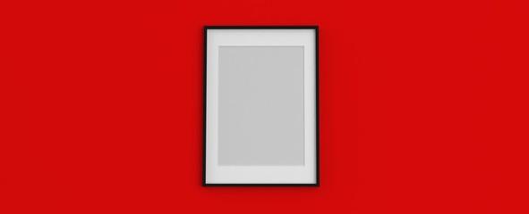 Render de cuadro de fotografía colgado. Diseño abstracto de marco tridimensional con diferentes materiales y texturas