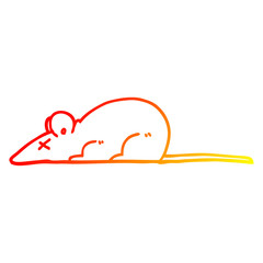 warm gradient line drawing cartoon dead rat