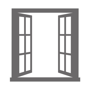 Open window on white background. Vector