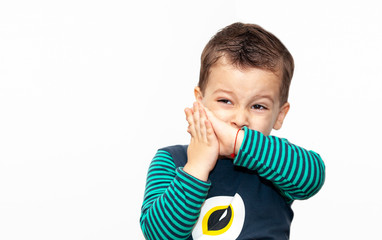 little kid crying on white background