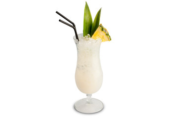 Pina colada cocktail isolated on white background.