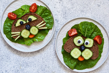 Sandwiches for children for breakfast. Animal muzzles: cat and dog. View from above. Wall mural