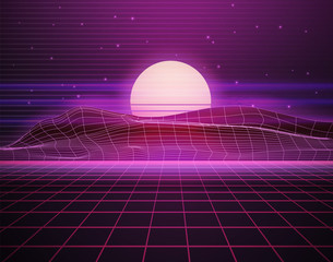 Scifi virtual reality landscape in 80s digital retrofuturistic style. Vector cyberpunk illustration with purple grid floor. Arcade videogame with neon laser grid. Synthwave, retrowave wallpaper design