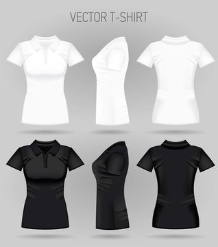 Blank women's white and black short sleeve polo shirt in front, back and side views. Vector illustration. Realistic female t-shirts