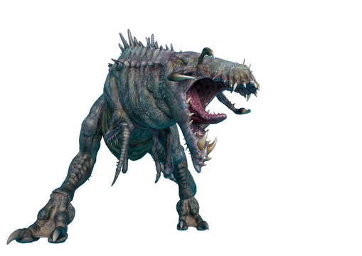alien animal is aggressive in a white background