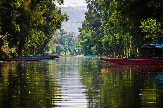 Water canal in quarter Xochimilco in Mexico City, Mexico