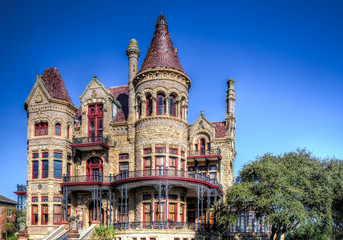 The Bishop's Palace in Galveston built by Walter Gresham is an extravagantly decorated house with a Victorian adaptation of the classic Renaissance style.