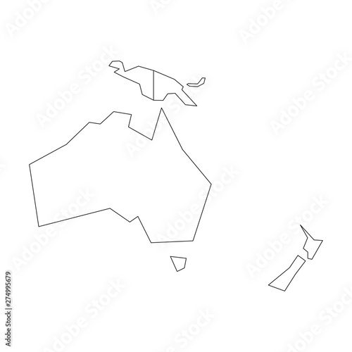 Australia Map Outline Vector.Political Map Of Australia And Oceania Simplified Black Wireframe