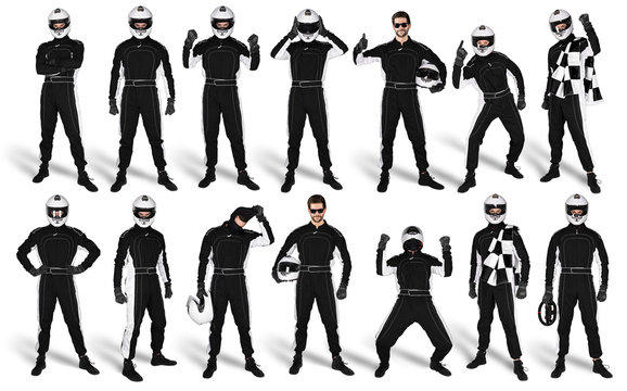 Set Collection of race driver with black overall saftey crash helmet and chequered checkered flag isolated white background. motorsport car racing sport concept
