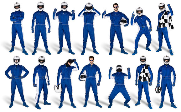 Set Collection of race driver with blue overall saftey crash helmet and chequered checkered flag isolated white background. motorsport car racing sport concept