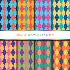 Argyle seamless pattern set.