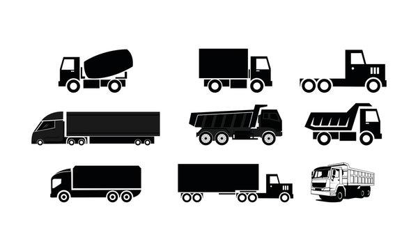 Truck set template vector logo