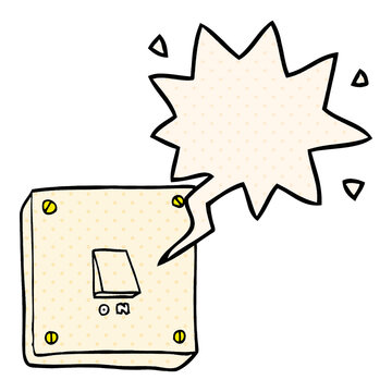 cartoon light switch and speech bubble in comic book style