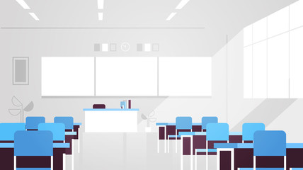 modern classroom interior empty no people school class room with board and desks flat horizontal