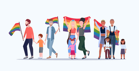 gays and lesbians with children holding rainbow flag lesbian gay same sex mix race parents group love parade lgbt pride festival concept flat full length horizontal