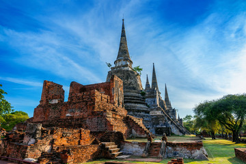 Wall Mural - Wat Phra Si Sanphet temple in Ayutthaya Historical Park, Ayutthaya Province, Thailand. UNESCO world heritage.
