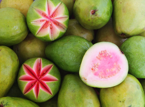 Fresh pink guava background