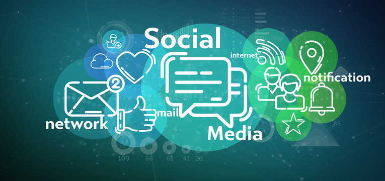Cloud of social media network icon