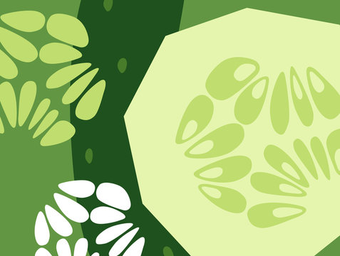 Abstract vegetable design in flat cut out style. Cucumbers. Vector illustration.
