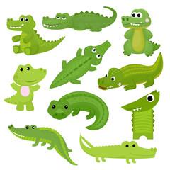 Crocodile vector cartoon crocodilian character of green alligator playing in kids playroom illustration animalistic childish set of funny predator isolated on white background