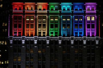 The Helmsley Building is lit in rainbow color ahead of the 50th anniversary of the Stonewall riot, in New York