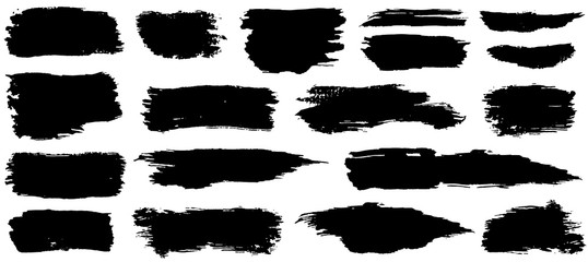 Vector collection of artistic grungy black paint hand made creative brush stroke set isolated on white background.