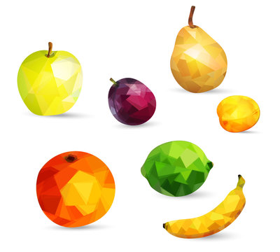 Fruits apple, lime, orange, pear, banana and plum berries and apricot in low poly style isolated on white background
