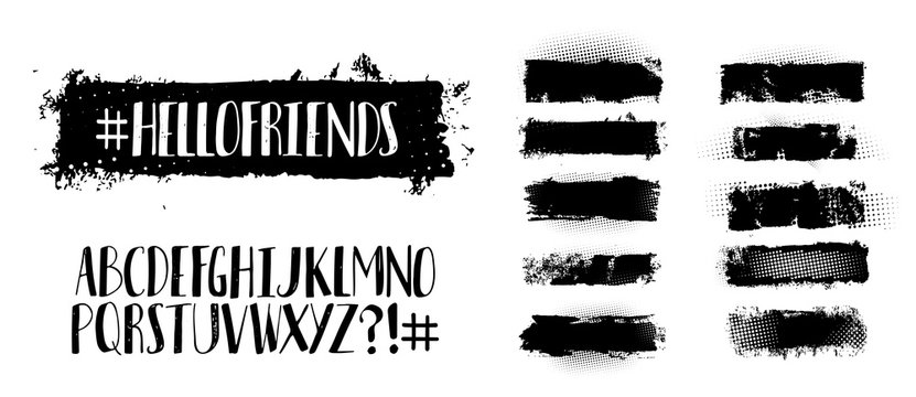 Black brush stroke set and handwritten alphabet. Choose a texture and write on it with a unique font. Abstract vector grunge hand - painted element. Vector set. Brush stroke and handwritten font