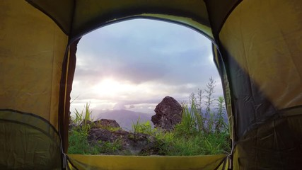 Wall Mural - View from the tourist tent to the mountains and sunrise.
