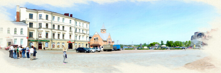 Imitation of the picture. Market Square in Vyborg. Panorama