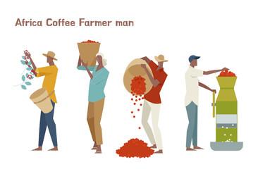 Male coffee farmer character set.flat design style minimal vector illustration.