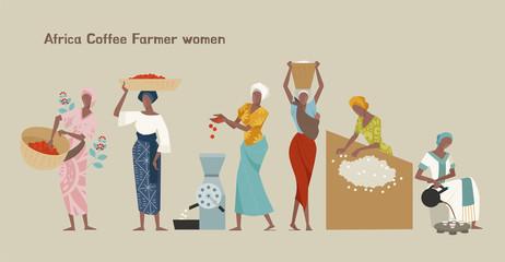 Female coffee farmer character set. flat design style minimal vector illustration.