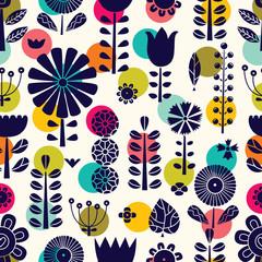 Blue flowers in Scandinavian style. Summer motive. Vector seamless pattern.