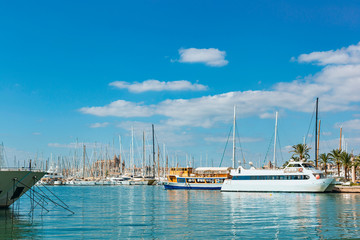 tourist ships and small sailing boats in the safe harbor city of Palma de Mallorca against the blue sky