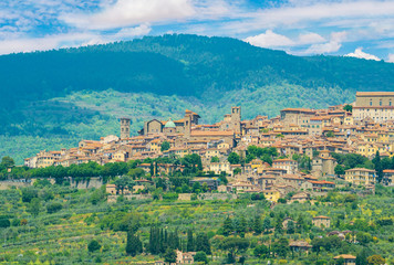 Foto op Plexiglas Olijf Cortona (Italy) - The awesome historical center of the medieval and renaissance city on the hill, Tuscany region, province of Arezzo, during the spring