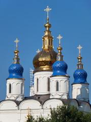 The five-domes of  St Sophia-Assumption Cathedral. Tobolsk Kremlin. Tobolsk. Russia
