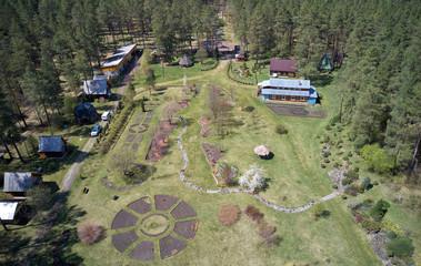 Drone bird's-eye view overlooking the Gorno-Altai Botanical Garden
