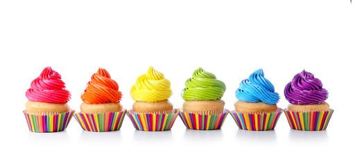 Sweet tasty cupcakes on white background