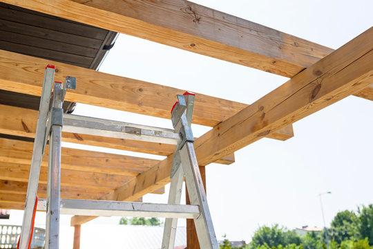 New wooden roof terrace in the garden