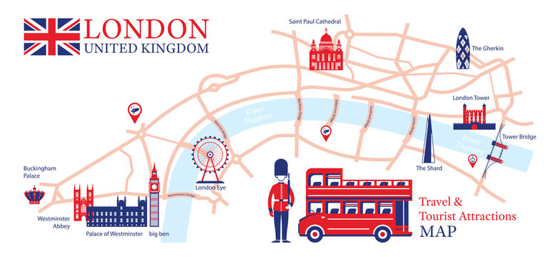 London, England Travel and Tourist Attraction Map