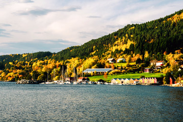 Wall Mural - View of residential area in Molde, Norway in the evening. Beautiful fjord