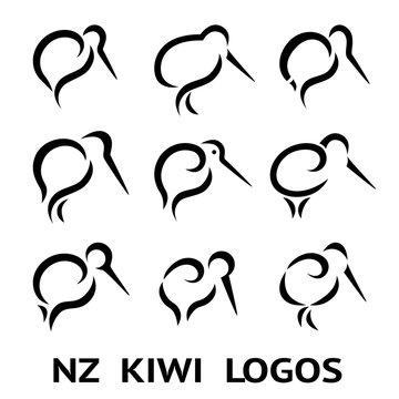 New Zealand Kiwi Bird Logo or tattoo with Maori Style Koru icon Design