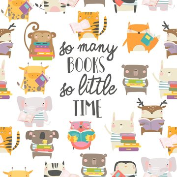Seamless pattern with cute animals reading books on white background