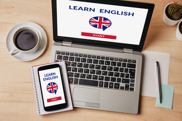 Learn English concept on laptop and smartphone screen