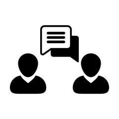 Communication icon vector male person profile avatar with speech bubble symbol for discussion and information in flat color glyph pictogram illustration