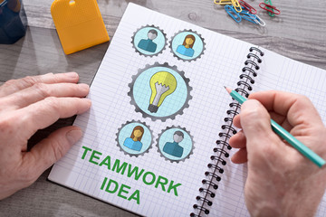 Teamwork idea concept on a notepad